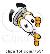 An Erlenmeyer Conical Laboratory Flask Beaker Mascot Cartoon Character Peeking Around A Corner