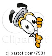 Clipart Picture Of An Erlenmeyer Conical Laboratory Flask Beaker Mascot Cartoon Character Peeking Around A Corner by Toons4Biz