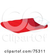 Royalty Free RF Clipart Illustration Of A Fluffy White Pillow On A Red Sleeping Bag