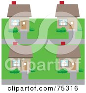 Royalty Free RF Clipart Illustration Of A Neighborhood Of Cookie Cutter Houses In A Subdivision by Rosie Piter