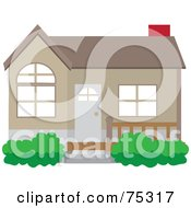 Royalty Free RF Clipart Illustration Of A Cute Brown House With A Front Patio And Red Chimney by Rosie Piter