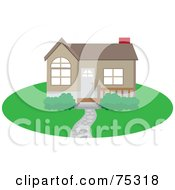 Royalty Free RF Clipart Illustration Of A Cute Brown Home With A Path Yard And Red Chimney