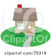 Royalty Free RF Clipart Illustration Of A Small Brown Home With A Path And Red Chimney