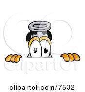 An Erlenmeyer Conical Laboratory Flask Beaker Mascot Cartoon Character Peeking Over A Surface