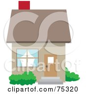Small Brown Home With A Red Chimney
