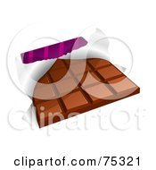 Royalty Free RF Clipart Illustration Of A Chocolate Candy Bar With A Torn Wrapper