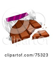 Royalty Free RF Clipart Illustration Of A Broken Chocolate Candy Bar With A Torn Wrapper by Oligo