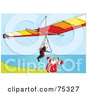 Royalty Free RF Clipart Illustration Of A Paraglider Flying Towards Santa On A Coastal Cliff by Snowy