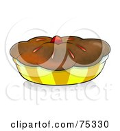 Royalty Free RF Clipart Illustration Of A Chocolate Crusted Pie Or Muffin In A Yellow Wrapper