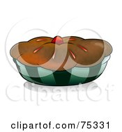 Royalty Free RF Clipart Illustration Of A Chocolate Crusted Pie Or Muffin In A Dark Blue Wrapper