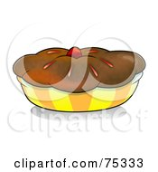 Royalty Free RF Clipart Illustration Of A Chocolate Crusted Pie Or Muffin In A Yellow And Orange Wrapper