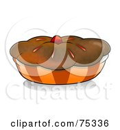 Royalty Free RF Clipart Illustration Of A Chocolate Crusted Pie Or Muffin In An Orange Wrapper