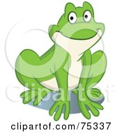 Royalty Free RF Clipart Illustration Of A Happy Green And Beige Frog