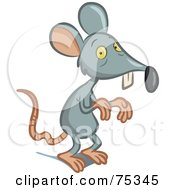 Royalty Free RF Clipart Illustration Of A Scrawny Gray Mouse