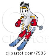 Clipart Picture Of An Erlenmeyer Conical Laboratory Flask Beaker Mascot Cartoon Character Skiing Downhill by Toons4Biz