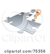 Royalty Free RF Clipart Illustration Of A 3d Orange Question Mark By A Chrome Jigsaw Puzzle On White