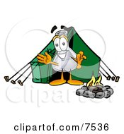 Clipart Picture Of An Erlenmeyer Conical Laboratory Flask Beaker Mascot Cartoon Character Camping With A Tent And Fire