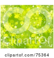 Blurry Green Snowflake And Sparkle Christmas Background