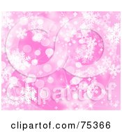 Blurry Pink Snowflake And Sparkle Christmas Background