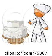 Royalty Free RF Clipart Illustration Of An Orange Woman Wedding Cake Maker by Leo Blanchette