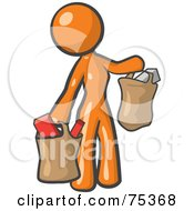 Royalty Free RF Clipart Illustration Of An Orange Woman Carrying Paper Grocery Bags