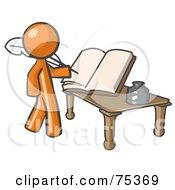 Royalty Free RF Clipart Illustration Of An Orange Man Author Writing History On Blank Pages Of A Book