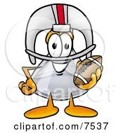 Clipart Picture Of An Erlenmeyer Conical Laboratory Flask Beaker Mascot Cartoon Character In A Helmet Holding A Football by Toons4Biz