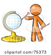 Royalty Free RF Clipart Illustration Of An Orange Man Inserting Pins On A Globe by Leo Blanchette