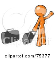 Orange Woman With Luggage Waving For A Taxi