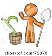 Royalty Free RF Clipart Illustration Of An Orange Man Holding A Shovel By A Potted Plant