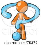 Royalty Free RF Clipart Illustration Of An Orange Man Draped In A Blue Question Mark