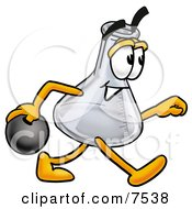 Clipart Picture Of An Erlenmeyer Conical Laboratory Flask Beaker Mascot Cartoon Character Holding A Bowling Ball by Toons4Biz