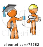 Royalty Free RF Clipart Illustration Of An Orange Man Graduate And Orange Man Contractor by Leo Blanchette