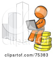 Royalty Free RF Clipart Illustration Of An Orange Man Sitting On Coins And Using A Laptop By A Bar Graph by Leo Blanchette
