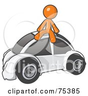 Royalty Free RF Clipart Illustration Of An Orange Man Sitting On Top Of A Slug Bug by Leo Blanchette