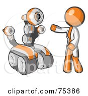 Royalty Free RF Clipart Illustration Of An Orange Man Inventor With A Rover Robot