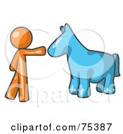 Royalty Free RF Clipart Illustration Of An Orange Man Petting A Blue Horse by Leo Blanchette