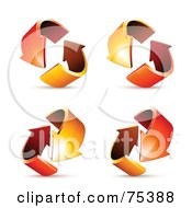 Royalty Free RF Clipart Illustration Of A Digital Collage Of Circling Red And Orange Arrows At Different Angles