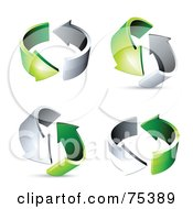Royalty Free RF Clipart Illustration Of A Digital Collage Of Circling Chrome And Green Arrows At Different Angles
