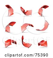 Royalty Free RF Clipart Illustration Of A Digital Collage Of Turning And Curving Red 3d Arrows With Shadows