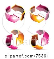 Royalty Free RF Clipart Illustration Of A Digital Collage Of Circling Pink And Orange Arrows At Different Angles