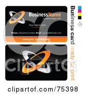 Royalty Free RF Clipart Illustration Of A Business Card Template Of Orange And Chrome Rings On Black by beboy