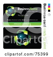 Business Card Template Of A Dark Orb With Green Arrows On Black