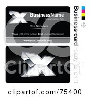 Royalty Free RF Clipart Illustration Of A Business Card Template Of A Silver X On Black by beboy