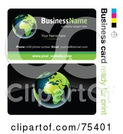 Royalty Free RF Clipart Illustration Of A Business Card Template Of A Shiny Green And Blue Earth On Black by beboy