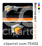Royalty Free RF Clipart Illustration Of A Business Card Template Of A Chrome And Orange Cube On Black by beboy