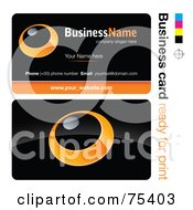 Royalty Free RF Clipart Illustration Of A Business Card Template Of An Orange Ring Or Dial On Black by beboy