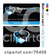 Royalty Free RF Clipart Illustration Of A Business Card Template Of Circling Chrome And Blue Arrows On Black by beboy