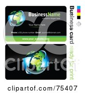 Royalty Free RF Clipart Illustration Of A Business Card Template Of Blue Arrows Around Earth On Black by beboy