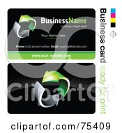 Royalty Free RF Clipart Illustration Of A Business Card Template Of Circling Chrome And Green Arrows On Black by beboy